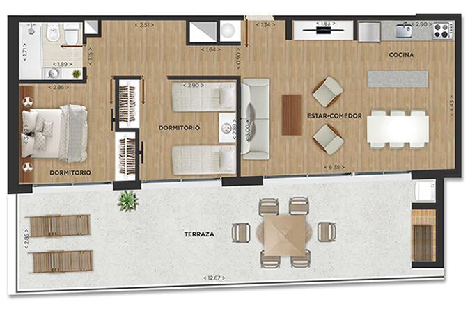 Domini Rivera y Salterain Plano 2 dormitorios penthouse