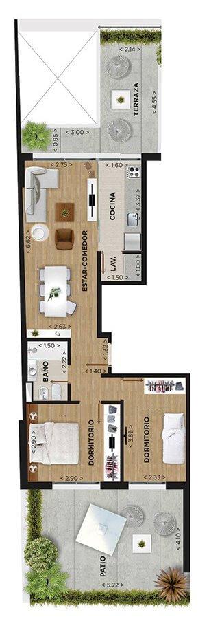 Domini Roxlo plano 2 dormitorios Unidad 101