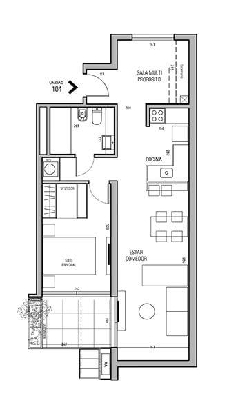 More Echevarriarza - Plano 1 dormitorio Unidad 104