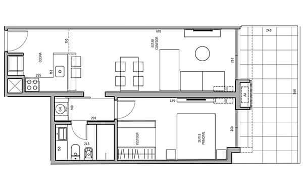More Echevarriarza - Plano 1 dormitorio Unidad 120