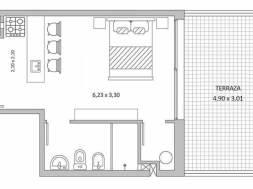 Quadra Centrum – Plano de 1 ambiente Unidad 1003