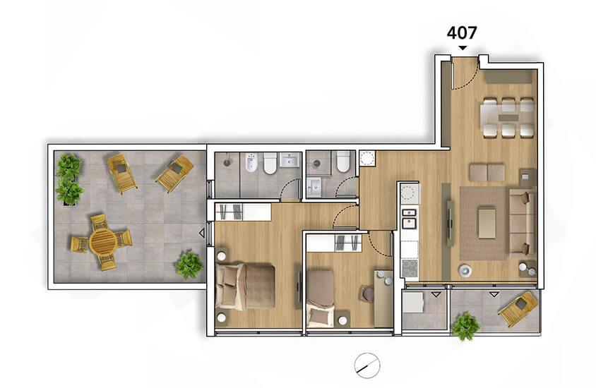 Lyra Plano 2 Dormitorios penthouse 407