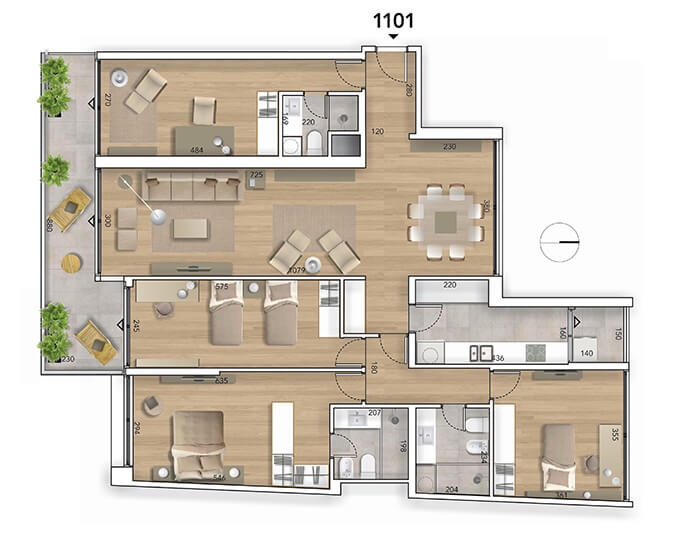 Lyra plano 4 dormitorios 1101