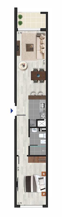 Marina W Plano 1 dormitorio 201