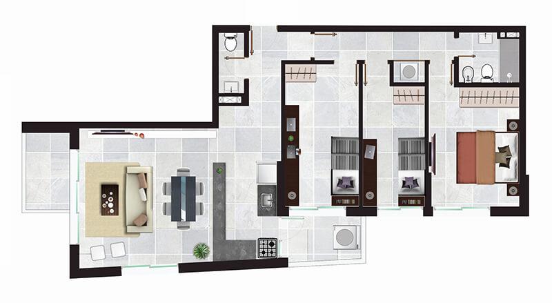 Torres del Rey Torre Bahía plano 3 dormitorios