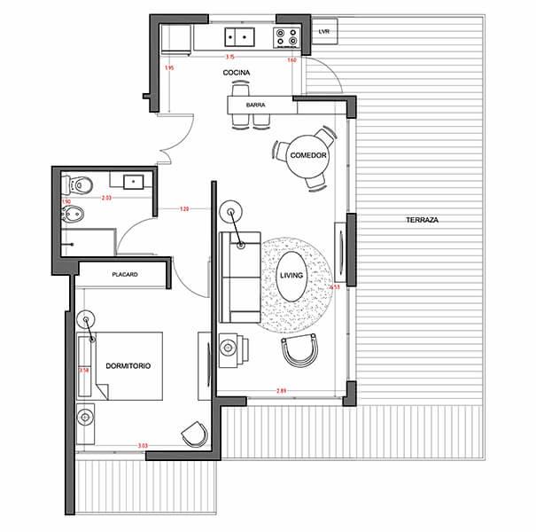 Alquimia - Plano 1 dormitorio con patio en punta carretas