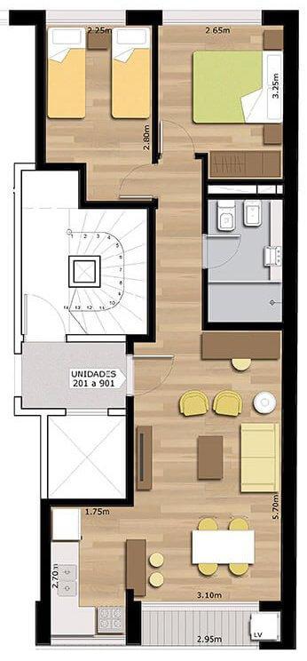 Pindó plano 2 dormitorios