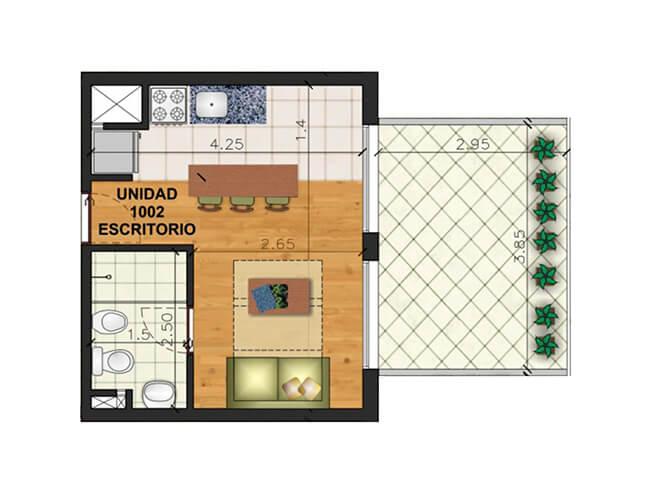 Marina 26 III monoambiente penthouse