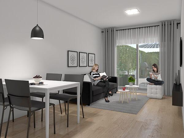 Brisa Marina 2 - Living monoambientes con patio