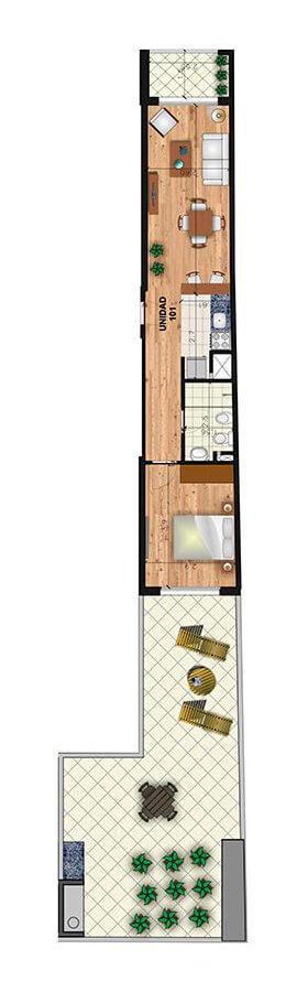 Marina 26 III Plano 1 dormitorio con patio 101
