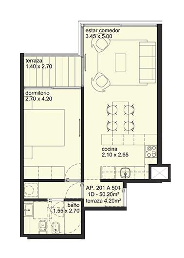 City Blanes 1 dormitorio 01