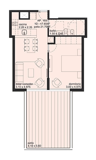 City Blanes 1 dormitorio con patio