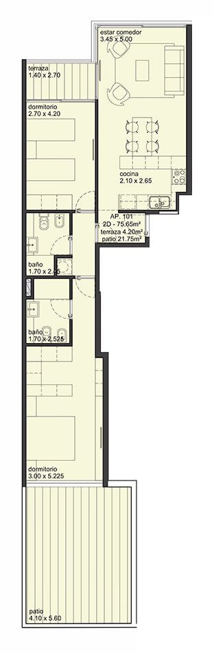 City Blanes 2 dormitorios con patio