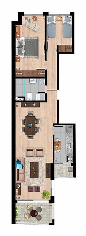Quadra 18T plano 2 dormitorios unidad tipo 02