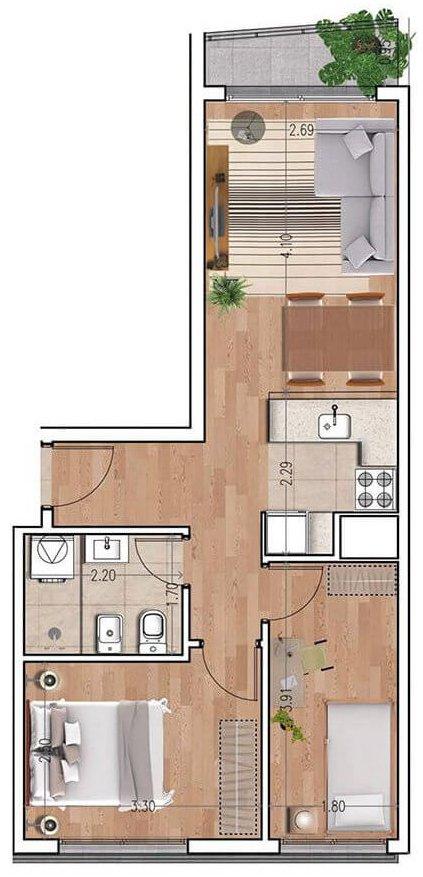 Ventura 810 plano 2 dormitorios unidad 04