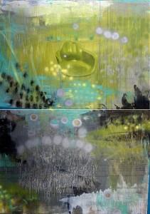 Auroras, mixed media on canvas