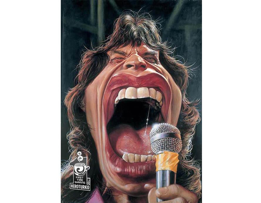Mick Jagger dos Rolling Stones (Caricatura- JAM)