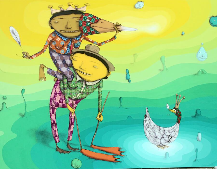 O Pato Rei (The King Duck), OSGEMEOS, 2016, mídias diversas em tela de madeira, 279 x 189 x 14 cm. Cortesia dos artistas e da galeria Lehmann Maupin, Nova York e Hong Kong.