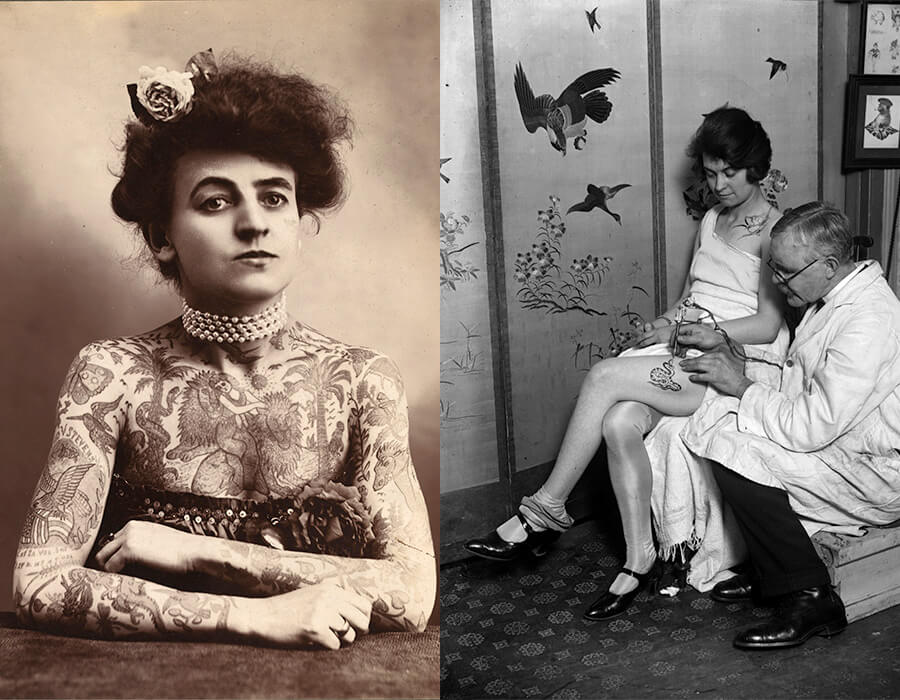 A artista de circo Maud Stevens Wagner foi a primeira mulher tatuadora famosa   Uma mulher tendo uma cobra tatuada na perna pelo tatuador George Burchett em 1928. Fotografia: Fox Photos/Getty Images