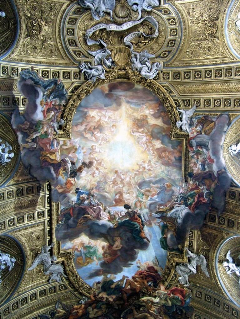 O Triunfo do Nome de Jesus, de Giovanni Battista Gaulli. Um afresco no teto da Igreja do Gesu, 1672-1685