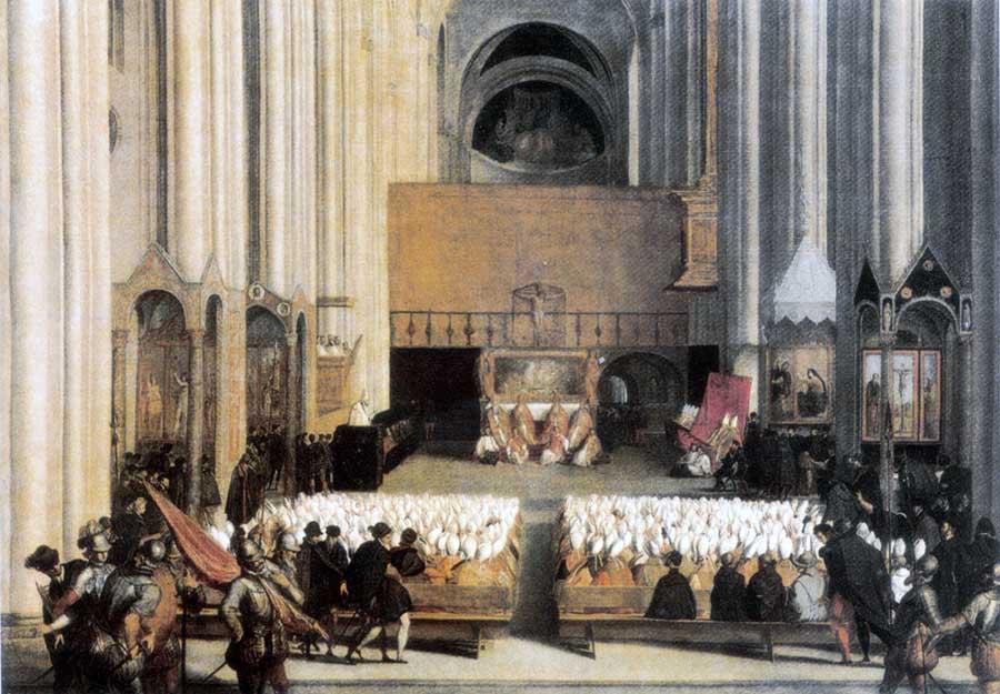 Pintura ilustra sessão do Concílio de Trento