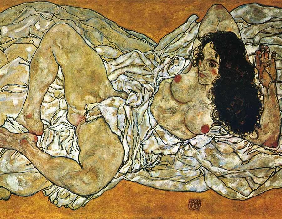 Egon Schiele: Mulher reclinada. arte feita por pessoas perversas