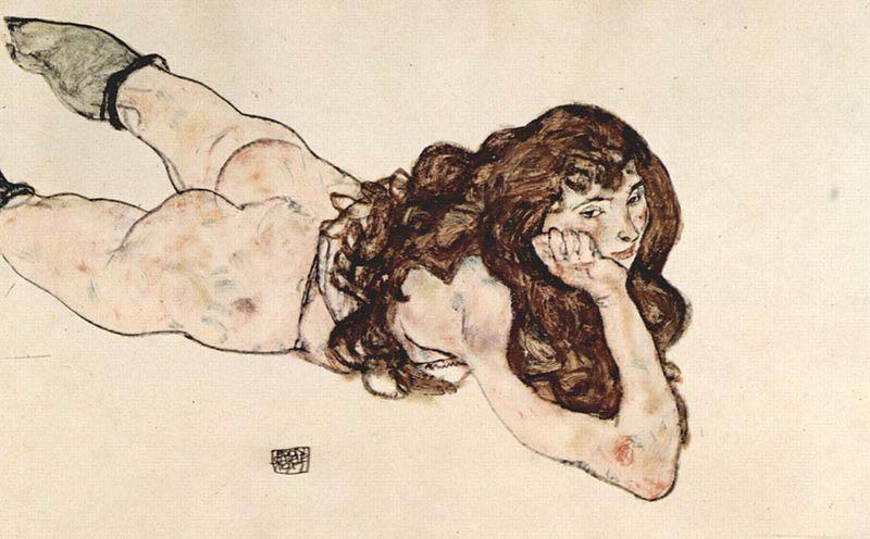Egon Schiele Female Nude on Her Stomach, 1917 Graphische Sammlung Albertina, Vienna
