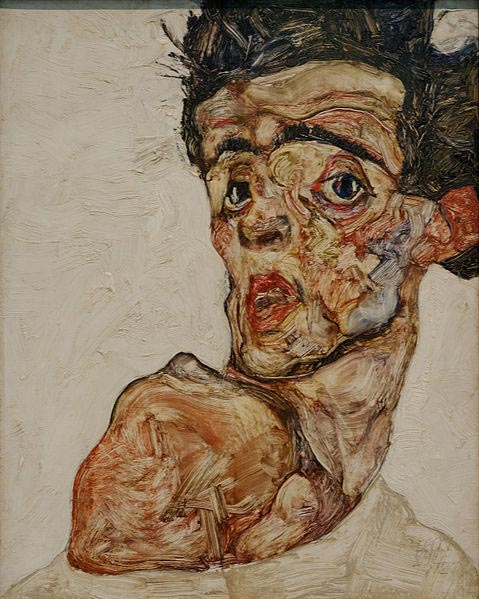 Egon Schiele Self Portrait with Raised Bared Shoulder, 1912