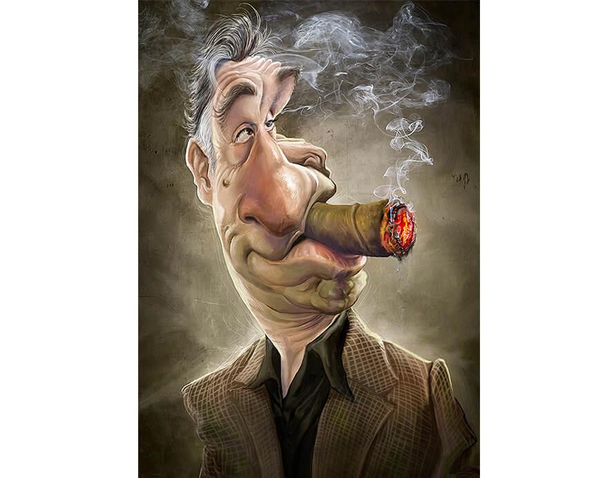 caricaturas de pessoas famosas; Robert-De-Niro-Caricatura-Jason-Seiler-