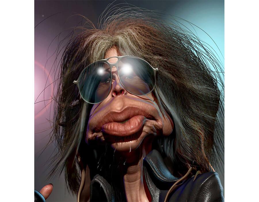 caricaturas de pessoas famosas; Steven-Tyler-da-Banda-Aerosmith-Caricatura-B.-Petry-