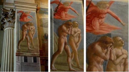 Masaccio; Expulsão do Jardim do Éden. Afresco. Capela Brancacci, Igreja Santa Maria del Carmine, em Florença, Itália.