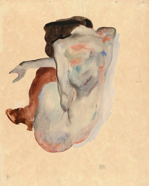 Crouching Nude in Shoes and Black Stockings, Back View. Artist: Egon Schiele (Austrian, Tulln 1890-1918 Vienna).