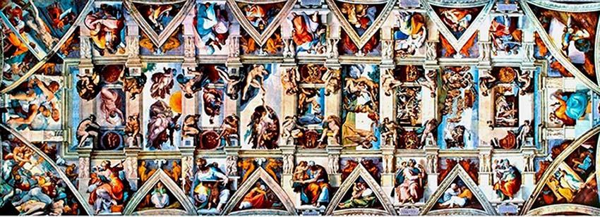 MICHELANGELO (1475-1564) Teto da Capela Sistina. Porção central, sibilas e profetas, triângulos, pendículos, cabeceira e fundo da Capela. Fresco, 1508-1512. Cappella Sistina, Palazzi Pontifici, Vatican, Itália.