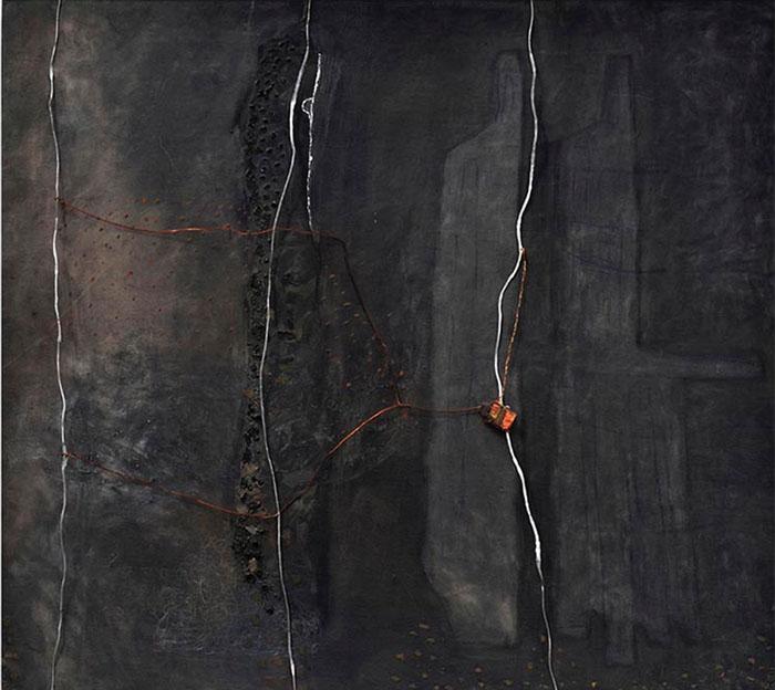 Intercisus Carvão, acrílica, óleo, cera de abelha, alumínio, cobre, barbante etc. (90 x 100 cm)