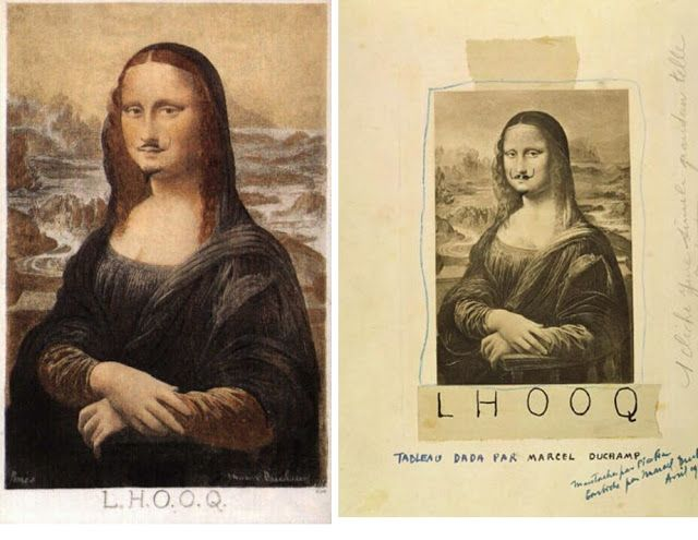 Left; Marcel Duchamp, L.H.O.O.Q, 1917. Right; Francis Picabia, L.H.O.O.Q, reproduction, 1920