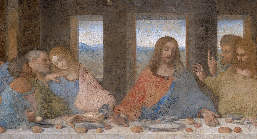 Renascimento Pleno; Leonardo DA VINCI (1452-1519) DETALHE: A Última Ceia, ca.1495-1499. Fresco. Têmpera e outros materiais, 460 × 88. Convento de Santa Maria delle Grazie, Milão, Itália.