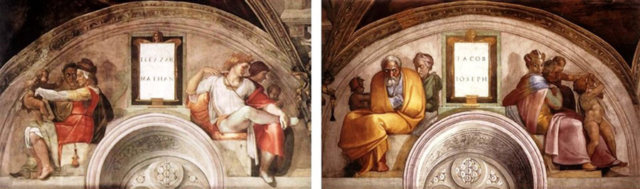 MICHELANGELO (1475-1564) DETALHE: Ancestrais de Cristo junto às lunetas da parede de entrada. Eleazar e Mathan. Jacob e José. Fresco, ca. 1511-1512. 215x430. Palazzi Pontifici, Vatican, Itália.