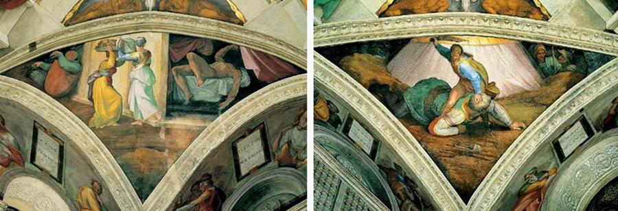 MICHELANGELO (1475-1564) DETALHE: Cenas bíblicas distribuídas nos pendículos[8]. Fresco, 1508-1512. Palazzi Pontifici, Vatican, Itália.