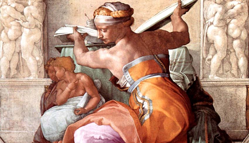 MICHELANGELO (1475-1564) DETALHE- Sibila Libica. Fresco, 1510-1512. Cappella Sistina, Palazzi Pontifici, Vatican, Itália