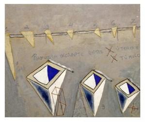 Pinguela Oscilante entre útero e Túmulo, 2017 Acrílica, óleo, grafite, alumínio, arame de cobre, etc sobre lona colada em painel (50 x 60 cm)