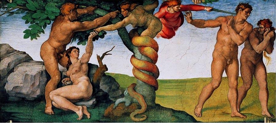 MICHELANGELO (1475-1564) DETALHE: Pecado original e expulsão do Paraíso. Fresco, 1508-1512.Cappella Sistina, Palazzi Pontifici, Vatican, Itália.