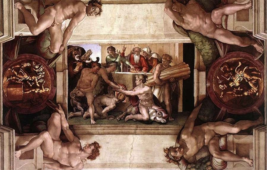 MICHELANGELO (1475-1564) DETALHE: Sacrifício de Noé. Fresco, 1508-1512. Palazzi Pontifici, Vatican, Itália.