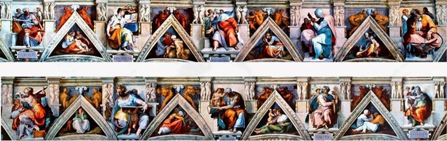 MICHELANGELO (1475-1564) DETALHE: Sibilas e profetas em tronos alternados habitam um cenário simulado por elementos de arquitetura entremeados por oito triângulos, representando os antepassados de Cristo. Fresco, 1508-1512. Cappella Sistina, Palazzi Pontifici, Vatican, Itália