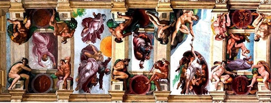 MICHELANGELO (1475-1564) DETALHE: Da esquerda para à direita: A Separação das Trevas da Luz; A Criação do Sol, da Lua e das Plantas; A Separação das Terras das Águas; Criação do Homem e Criação da Mulher. Fresco, 1508-1512. Palazzi Pontifici, Vatican, Itália.