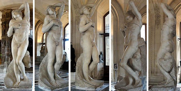 MICHELANGELO (1475-1564) O Escravo moribundo, 1513-1516. Escultura inacabada em Mármore, 2, 29 metros de altura. Musée du Louvre, Paris, França. Disponível em: https://www.louvre.fr/en/mediaimages/captif-lesclave-mourant-michel-ange-michelangelo-buonarroti-dit. Acesso em: 29 jul. 2019.