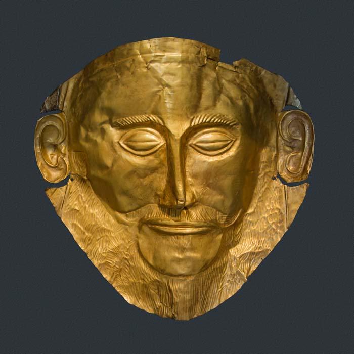 arte grega; Máscara funerária, que é, por vezes, atribuída a Agamémnon, 1500 a.C., 26 cm de altura, Museu Arqueológico Nacional de Atenas.