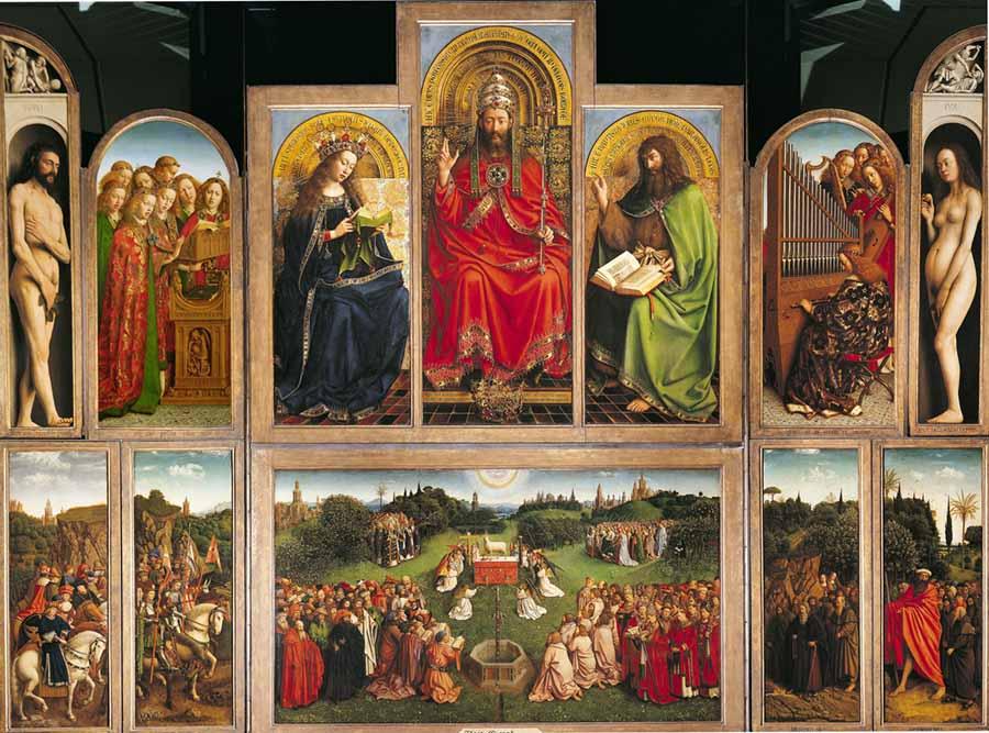 Jan Van Eyck - O Retábulo de Gante (1432)   Catedral de São Bavão, Gante, Bélgica