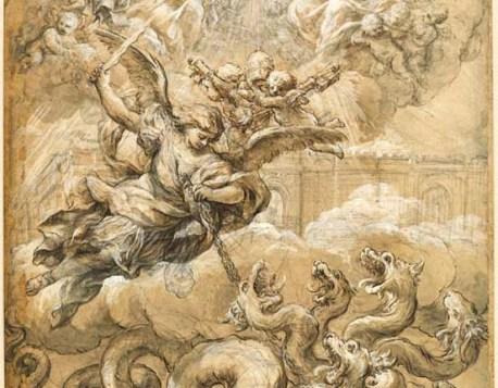 Pietro da CORTONA (1596 -1669) A Santíssima Trindade com São Miguel conquistando o dragão, 1656-1669. Desenho à pena e tinta marrom espalhada, giz preto e branco sobre cartão pardo, 45,8x35,7