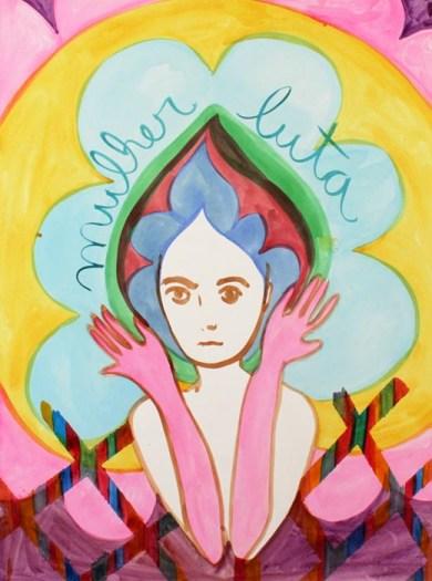 Mulher luta, aquarela sobre papel (2019)