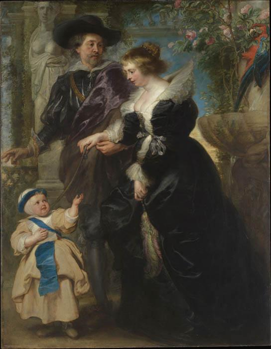 Peter Paul RUBENS (1577-1640) Rubens, sua esposa Helena Fourment (1614-1673) e seu filho Frans (1633-1678), ca. 1635. Óleo sobre madeira, 203.8x158.1. The Metropolitan Museum of Art, Nova York, EUA.